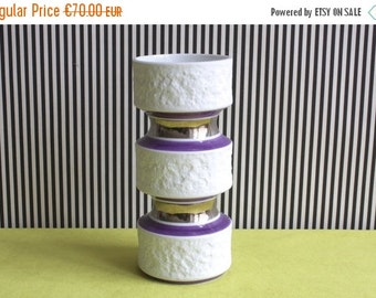 Summersale Mid Century Modern Op-Art White, Lila and Silver Matte German Bisque Porcelain by Royal Bavaria KPM
