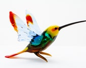 Murano Glass Hummingbird Sculpture with Yellow Head - Amazing Gift and Home Decor Decoration