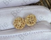 2 pcs 10mm 24K Gold Plated Brass Hollow Filigree ball Charm Pendant Spacer,Charms Jewelry Findings,metal brass spacers finding beads