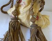 pair  FRENCH CURTAIN TIEBACKS chateau style golden tiebacks .