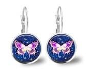 Butterfly Tile Earrings Pink Butterfly Tile Jewelry Butterfly Jewelry Navy Blue Earrings Navy Jewelry