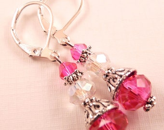 Crystal Earrings Beaded Earrings Pink Earrings Beaded Jewelry Silver Jewelry Crystal Jewelry Dangle Earrings Pink Jewelry