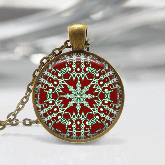 Christmas necklace jewelry glass tile by