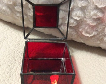 FALL SALE Vintage Red Glass Jewelry Casket Box Mirror Display Stained Glass