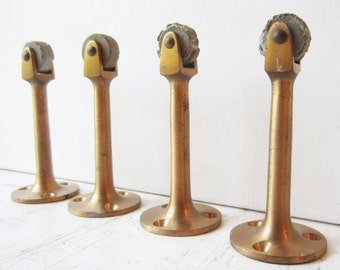 Vintage Mid Century Legs / Feet with Wheels - Set of Four - Solid Brass