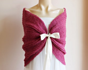 Rose Bridal Cape/Dark Rose  Wedding Wrap Shrug Bolero/Hand Knit Mohair