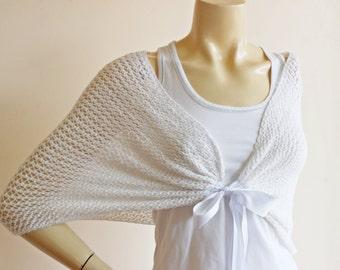 White Bridal Cape- Hand Knit Spring Summer Shrug, Cotton Cape, Lace Cape-Shoulder Wrap