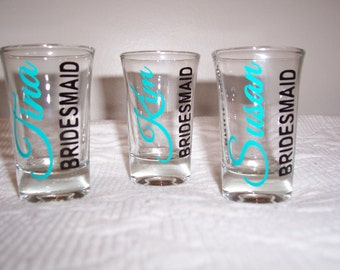Bridesmaids Shot Glasses Personalized, Bride Shot Glass, Maid of Honor Shot Glass