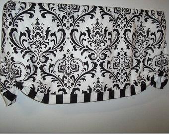 Traditions Damask & Canopy Stripe Custom Valance, Custom Window Treatment, Black and White Custom Valance