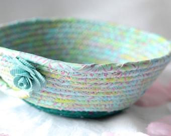 Turquoise Batik Bowl, Handmade Sea Green Basket, Decorative Basket, Teal Key Holder Bowl, Turquoise Hair Tie Holder Basket