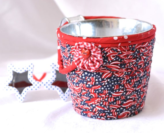Picnic Utensil Holder, Red White and Blue Party Container, 4th of July Decor, BBQ Picnic Basket, Cute Desk Accessory, Kitchen Decoration