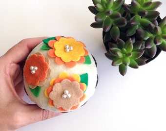 Felt Flower Cupcake (Orange/Yellow) - Home Decor, Gifts, Centerpiece, Bridal/Baby Showers, Flower Party, Hostess, Tea Party