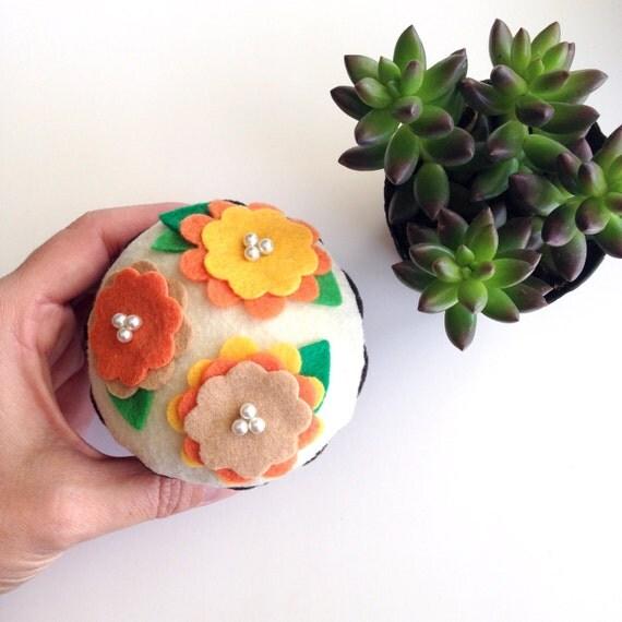 Summer Felt Flower Cupcake (Orange/Yellow) - Home Decor, Pin Cushion, Gifts, Centerpiece, Bridal/Baby Showers, Flower Party