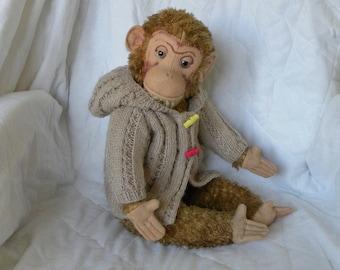 Vintage Chimpanzee - Large Plush Monkey - German Chimp - 1950's Thuringia Monkey
