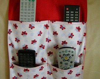 Organizer Remote Caddy 4 pocket Red Butterflies