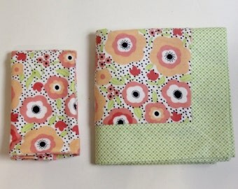 Floral and Green Double Flannel Baby Blanket with Matching Burp Cloth for Girls- Receiving Blanket, Flannel Blanket