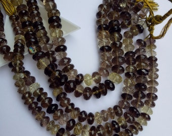 Large Smoky and Lemon Topaz 10x8mm Faceted Randell Gemstone beads, strand (approx 36 cps)