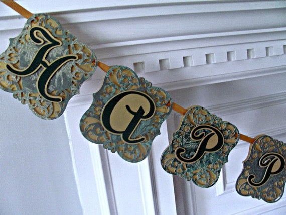 Birthday Banner, Emerald Green and Gold, Elegant Lace Birthday Banner