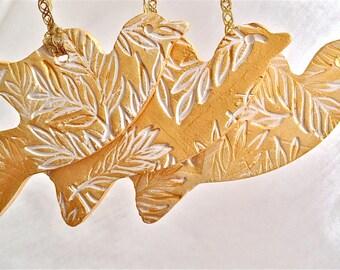 Bird Ornaments Set of 3 Gold Doves