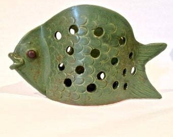 Fish Tea Light Indoor Outdoor Ceramic Luminary Garden Art