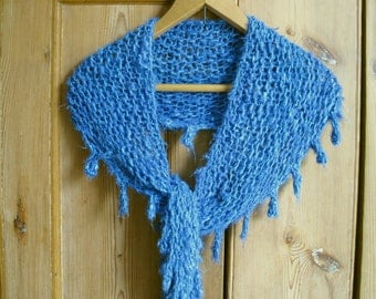 chunky banana silk shawlette, REDUCED for Christmas, proceeds to charity, blue, handknit, handknitted, neck-warmer, eco-yarn, blue shawl