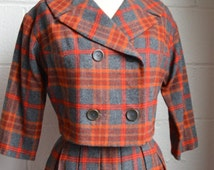 Vintage Womens Suit 1960s Plaid Wool Pleated Skirt and Cropped Jacket Double Breasted Red Orange and Gray Plaid Secretary Suit Size Medium