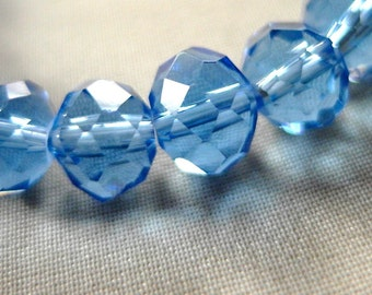 "10"" of 10mm Ocean Blue Faceted Crystal Rondell Beads, 10mm x 8mm,  10"" strand, 36 pieces"