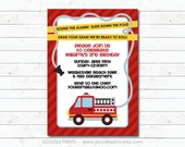 """Fire Truck Invitation, Birthday Party Invitation, Fire Fighter Customized Printable Boy's Party, Digital Invitation 4x6"""" or 5x7"""""""