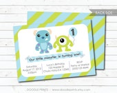 "Monsters Inc Invitation - Printable Birthday Party Invitation - Customized Printable Invitation ""Monsters Inc - Mike and Sully"" 5x7"" OR 4x6"""