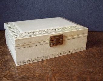 Vintage Mid Century Mele Leatherette Jewelry Box  Cream/White