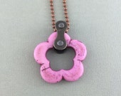 Pink stone bicycle chain necklace, cycling accessory, bicycle necklace, bike jewelry,