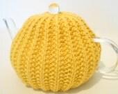 Deep Yellow Teapot Cozy, Handknit Tea Cozy, Kitchen Accessories