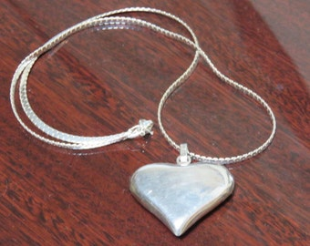 Sterling Silver Heart Necklace, 925 Chain, Pendent and Chain.