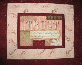 Scripture Wall Hanging, Table Topper, Easter, Proverbs 3:5, Christian,  quilted, focus fabric from Wilmington Prints