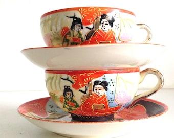 Vintage Tea Cups & Saucers Hand Painted Porcelain Raised Relief Oriental Scene