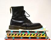 Amazing 90s Black Dr. Martens Boots Size Women 6 // Vintage Doc Marten Black Boots UK Size 4 Made in England