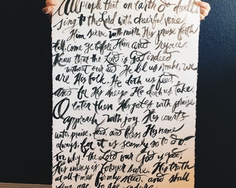 Custom Large Typography, Poem, Song Lyrics, Hymn, Bible Verse, Quote, Original Art, Watercolor, Ink