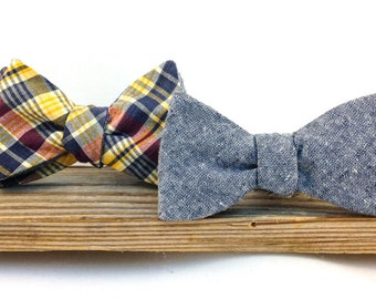 Blue Linen and Plaid Reversible Men's Bowtie // Durian and the Lyon