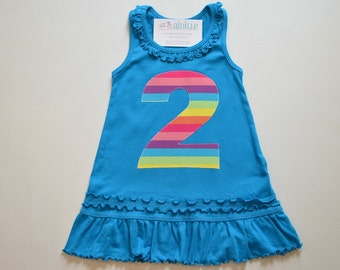 FLAWED Girls 2nd Birthday Dress Rainbow Applique Number Tank Top Dress Second Birthday Teal Blue Rainbow Party Ruffle Knit Ready to Ship