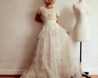 Hannah-Layered Cake cotton tulle WEDDING SKIRT-Made to order