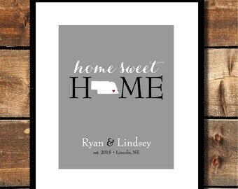 Home Sweet Home with Your State Established In Gift Bridal Shower Gift Housewarming Gift for Bride Gift for Groom New Home Gift