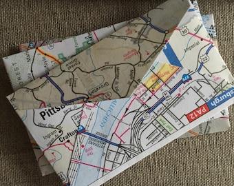 """50 Mini Road Map Envelopes--US Road Atlas Mini Envelopes--United States Road Atlas Envelopes--Size 2 1/4"""" x 3 1/2""""--Upcycled Map Envelopes"""