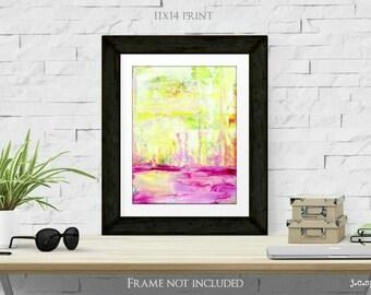"Abstract Print, 11x14"" Mixed Media Art Print, Abstract Art, Bright Print, Wall Art, (279x356mm) neon pink, yellow, lime green ""Satisfy"""