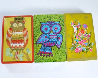 Vintage Owl 70s Playing Cards Decks Unopened, Kitsch Owls and Peacock Card Decks, Vintage Card Decks in Lime Green, SWAP Cards NOS