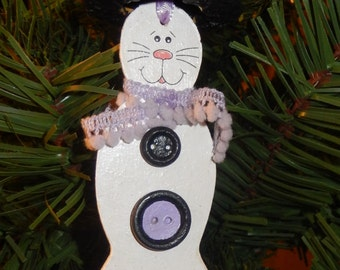Snow Kitty Ornament with Hat