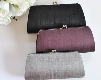 Dupioni SILK Clutch - Wedding clutch, Bridal clutch, Bridesmaid's clutch, Mother of the bride- Black clutch, Gray clutch, Eggplant clutch