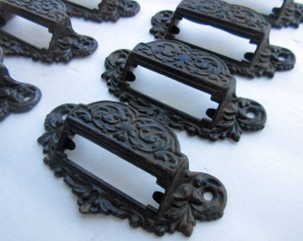 WOW! Set 10 Cast Iron Victorian Apothecary Store Drug Label Window Drawer Pulls