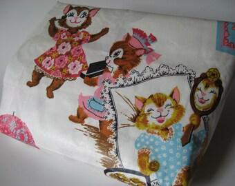 Vintage animal print cotton sateen fabric 5 yards available retro steam bath vanity theme