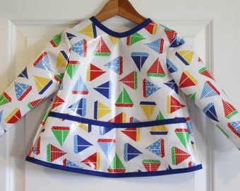 Long Sleeve Toddler Bib Baby Bib with Primary Sailboats