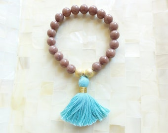 Smooth Light Cocoa Brown Jade and Stardust Round Bead Stretch Bracelet with Blue Cotton Tassel (B1209)